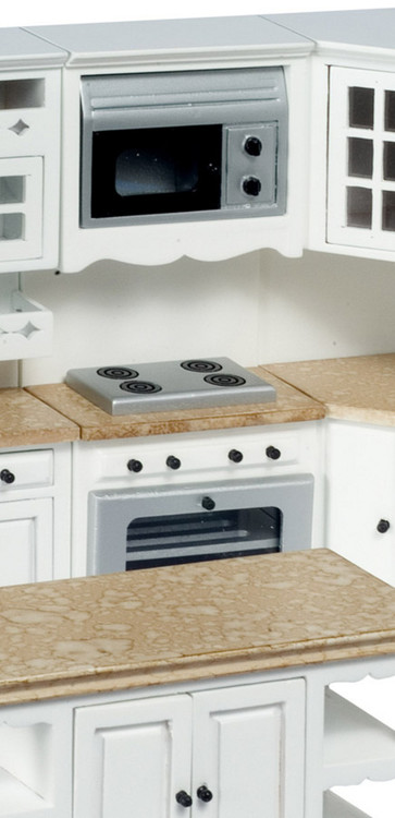 Stove/Oven and Microwave- White and Marble