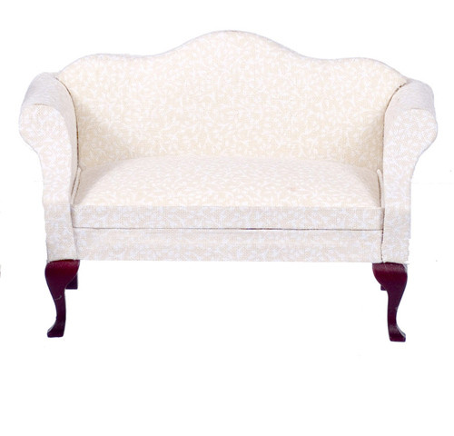 Dollhouse City - Dollhouse Miniatures Queen Anne Sofa with White Fabric - Mahogany