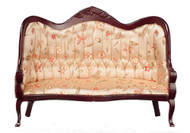 Victorian Sofa with Floral Fabric - Mahogany