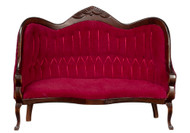 Victorian Sofa with Red Valour - Mahogany