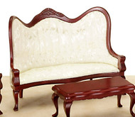 Victorian Sofa - Mahogany and White