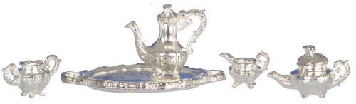 Dollhouse City - Dollhouse Miniatures Tea Set - Silver Plated