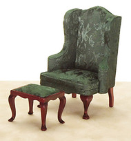 Queen Anne Wing Chair and Ottoman - Green