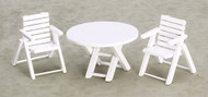 Three pieces Table and Chairs - White