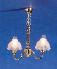 Dollhouse City - Dollhouse Miniatures 2-Arm Fluted Shade Chandelier
