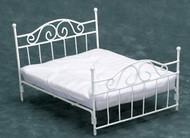 White Double Bed with Mattress