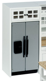 Silver Refrigerator with Cabinet - White