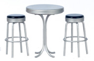 1950's Tall Table with 2 Stools Set - Black