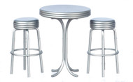 1950's Tall Table with 2 Stools - Silver