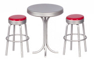1950's Tall Table with 2 Stools - Red