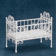 Dollhouse City - Dollhouse Miniatures Baby Crib - White Wire