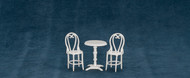 Dollhouse City - Dollhouse Miniatures Cafe table and Two Chairs - White