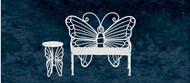 Butterfly Bench and Table - White