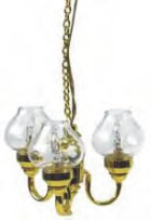 3-Arm Chandelier - Clear Globes