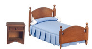 Bed Set - Blue and Walnut