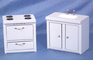 Dollhouse City - Dollhouse Miniatures Stove and Sink - White