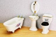 Bathroom Set with Flowers