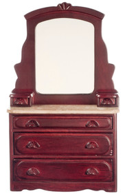 Dollhouse City - Dollhouse Miniatures Victorian Dresser - Mahogany