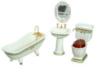 Porcelain Bath Set - Green Trim