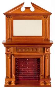Dollhouse City - Dollhouse Miniatures Fireplace with Mirror - Walnut