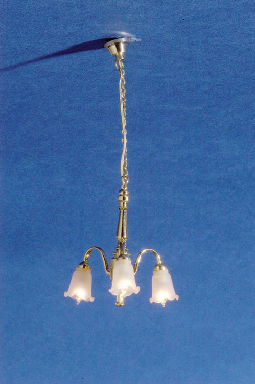 Dollhouse City - Dollhouse Miniatures 3-Arm Frosted Tulip Shade Chandelier