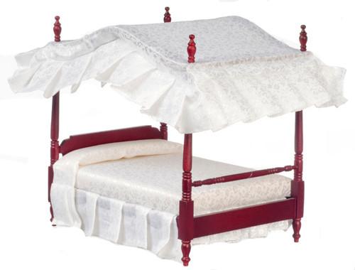 Dollhouse City - Dollhouse Miniatures Canopy Bed - Mahogany