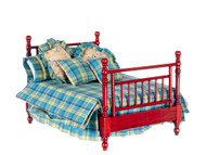 Double Bed with Linens - Mahogany