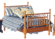 Double Bed with Linens - Walnut