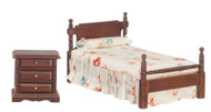 Bed Set - White and Walnut