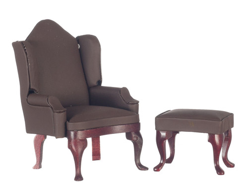 Wing Chair - Ottoman - Flat Brown