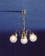 Dollhouse City - Dollhouse Miniatures 3-Arm Frosted Globe Chandelier