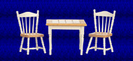 Table with 2 Chairs - White and Oak