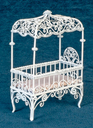 Dollhouse City - Dollhouse Miniatures Baby Canopy Bed - White