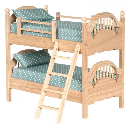 Dollhouse City - Dollhouse Miniatures Spindle Bunk Bed - Oak
