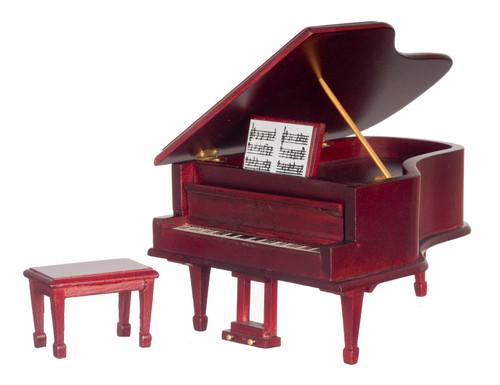 Dollhouse City - Dollhouse Miniatures Piano With Bench - Mahogany
