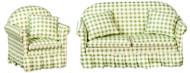 Sofa & Chair Set - Green - White