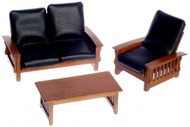 Black Leather Sofa, Chair  and Table  - Walnut