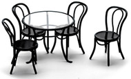 Patio Table and Four Chairs - Black
