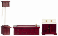 Dollhouse City - Dollhouse Miniatures Victorian Bath Set - Mahogany