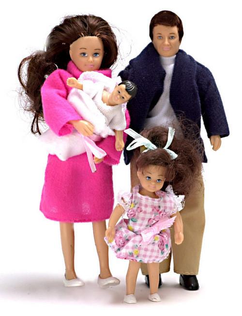 Modern Doll Family - Brunette - 4 pc