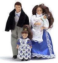 Victorian Doll Family - Brunette - 4 pc
