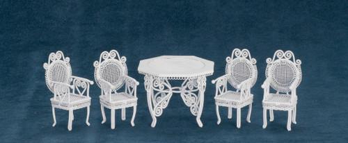 Dollhouse City - Dollhouse Miniatures Tea Table Set - White Wire