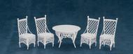 Dollhouse City - Dollhouse Miniatures Patio Table Set - White Wire