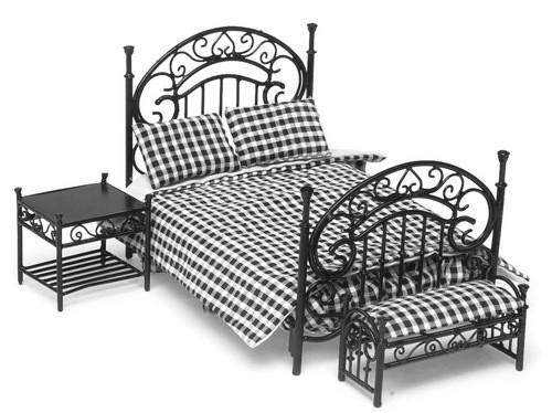 Dollhouse City - Dollhouse Miniatures Bedroom Set - Black