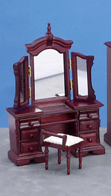 Vanity with Mirror and Stool - Mahogany