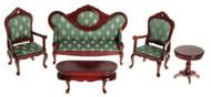 Victorian Living Room Set - Green and Mahogany