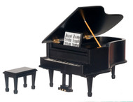 Dollhouse City - Dollhouse Miniatures Piano with Bench - Black