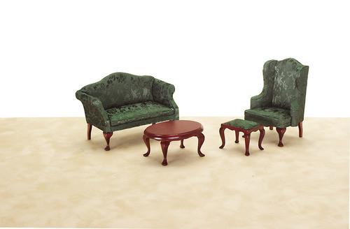 Queen Anne Living Room Set - Green