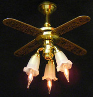 Dollhouse City - Dollhouse Miniatures Ceiling Fan with 3 Tulip Shades