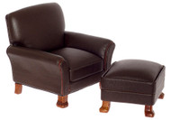Leather Chair and Ottoman - Brown and Walnut